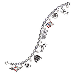 "The ""Ride Hard, Live Free"" Swarovksi Crystal Charm Bracelet"