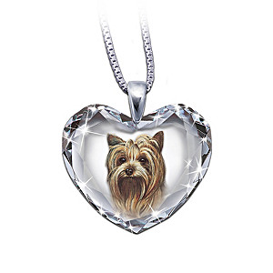 Yorkie Portrait Crystal Heart Pendant Necklace