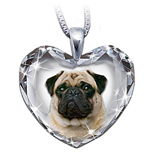 Pug Portrait Crystal Heart Pendant Necklace