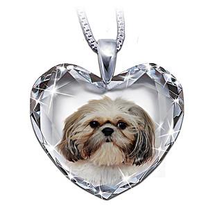 Shih Tzu Portrait Crystal Heart Pendant Necklace