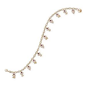 """A Dozen Roses"" Genuine Ruby Charm Bracelet"