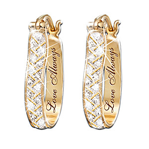 """For Love, Always"" Engraved Diamond Earrings"