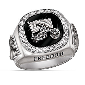 "Sculptural ""Custom Biker"" Men's Diamond Ring"