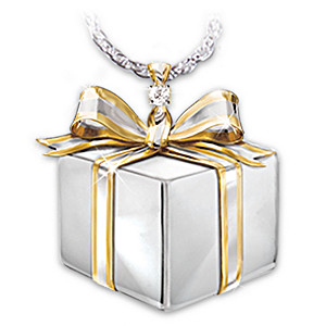 """Mom, A Gift Of Love"" Diamond Gift Box Pendant"