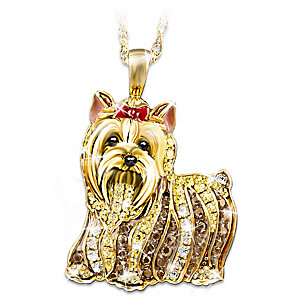 Yorkie Pendant With 3 Different Colors Of Swarovski Crystals