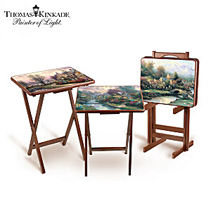 Thomas Kinkade Art Tray Tables With Storage Stand
