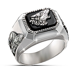 Black Onyx Wolf Art Men's Ring