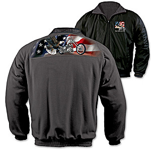 """Ride Hard, Live Free"" Reversible Men's Fleece Jacket"