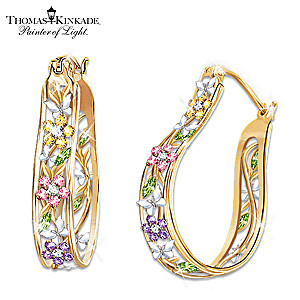 Thomas Kinkade Alzheimer's Support Floral Earrings