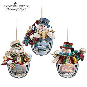 "Thomas Kinkade ""Snow-Bell Holidays"" Ornament Set"