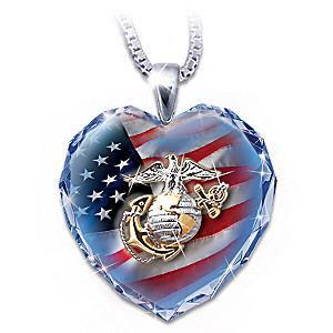 Crystal Heart Pendant With USMC Symbols/Message