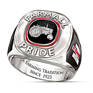"""Farmall Pride"" Solid Sterling Silver Men's Ring"