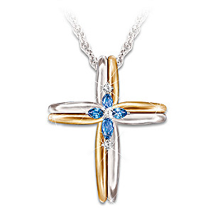The Trinity Sapphire and Diamond Cross Pendant Necklace
