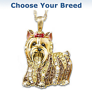 Dog Lovers Best In Show Bichon Frise Crystal Pendant Necklace