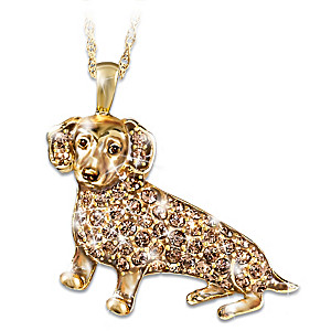 Dachshund Pendant With Cocoa Brown Swarovski Crystals