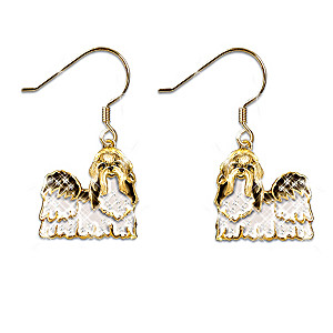 """Best In Show"" Shih Tzu Earrings With Swarovski Crystals"