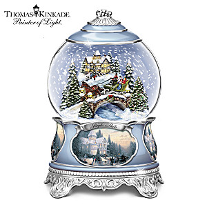 Illuminated Thomas Kinkade Snowglobe With Sculpted Scene