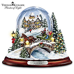 "Kinkade Musical  ""Jingle Bells"" Snowglobe With Swirling Snow"