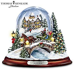 "Kinkade Musical  ""Jingle Bells"" Snowglobe With Swirling Snow"