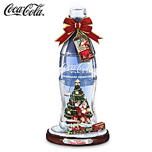 Crystal Coca-Cola Replica Bottle With Santa And Moving Train