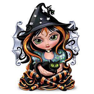 Fairy And Cat Illuminated Halloween Figurine