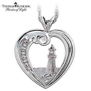 Thomas Kinkade Beacon Of Hope 5-Diamond Pendant