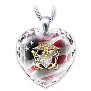 "U.S. Navy ""Crystal Heart"" Pendant Necklace"
