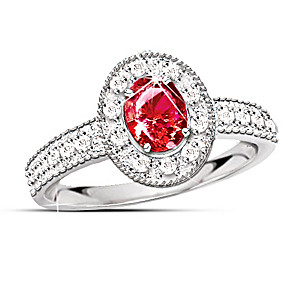 1/2 Carat Ruby And 20 Diamond Ring