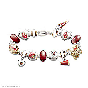 Oklahoma Sooners Fan Charm Bracelet With Swarovski Crystals