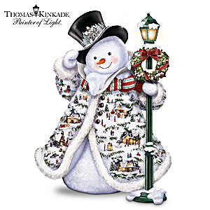 Illuminated Thomas Kinkade Snowman With Faux Fur