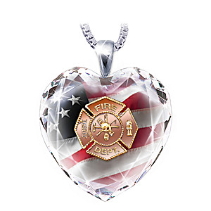 Firefighter Crystal Heart Pendant Necklace