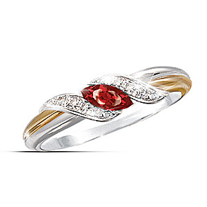 Sterling Silver Ring With Marquise-Cut Ruby And Diamonds