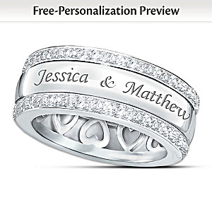 """Forever Love"" 12-Diamond Spinning Band Personalized Ring"