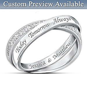 """Today, Tomorrow, And Always"" Personalized Diamond Ring"