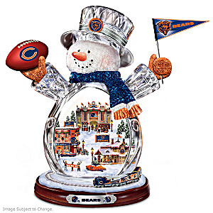 Chicago Bears Crystal Snowman With Moving Train