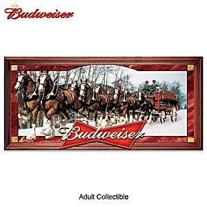Budweiser Clydesdales Illuminated Stained-Glass Panorama