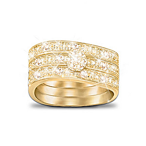 """Champagne Celebration"" 3-Band 11-Diamond Ring"