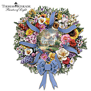 Thomas Kinkade State Flower Art Wreath With Flower Guide