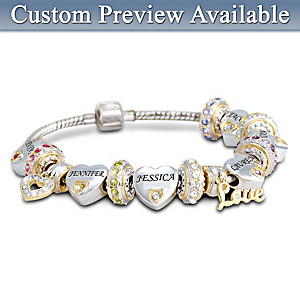 """Forever In A Mother's Heart"" Personalized Bracelet For Mom"