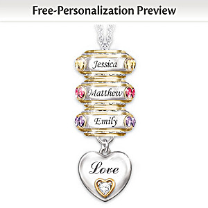 Personalized Birthstone Roundel Pendant With Up To 6 Names