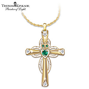 Emerald And Diamond Claddagh Cross Symbolizes Faith And Love