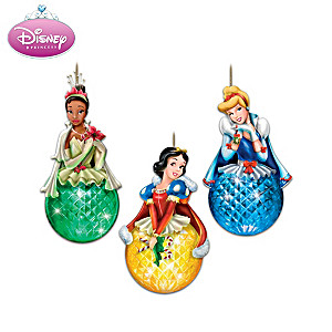Disney Princess Ornament Set With Faceted Illuminated Globes