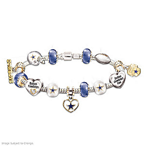 Dallas Cowboys Charm Bracelet With Swarovski Crystals