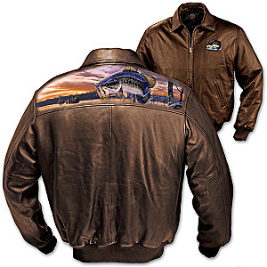 Al Agnew Fishing Art Leather Men's Jacket