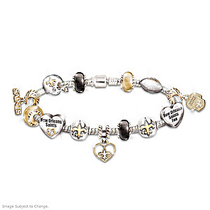 New Orleans Saints Charm Bracelet With Swarovski Crystals