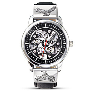 Stainless Steel Motorcycle Skeleton Watch With Case