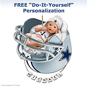 "Personalized ""Cowboys Fan"" Baby's First Christmas Ornament"