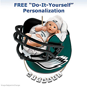 "Personalized ""Eagles Fan"" Baby's First Christmas Ornament"