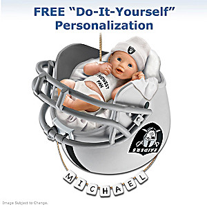 "Personalized ""Raiders Fan"" Baby's First Christmas Ornament"