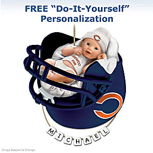 "Personalized ""Bears Fan"" Baby's First Christmas Ornament"